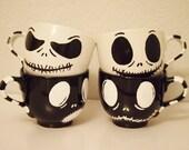 Set de 2 bowls desayuno pintados a mano. Jack Skellington Pesadilla Antes de Navidad Calavera Skull Nightmare before christmas