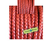 DB06124 - 0.40 meter x 6.00mm Red, Round Braided Leather Cord