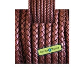 DB06125 - 0.40 meter x 6.00mm Bordeaux, Round Braided Leather Cord