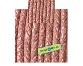 DL06401 - 0.40 meter x 6.00mm Rose, Vintage effect  Braided Leather Cord