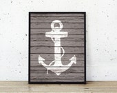 Nautical Anchor Wood Art Prints - Rustic Nautical Decor - Beach House Decor - Anchor Silhouette Sailing Nursery Art - SKU: 042-B