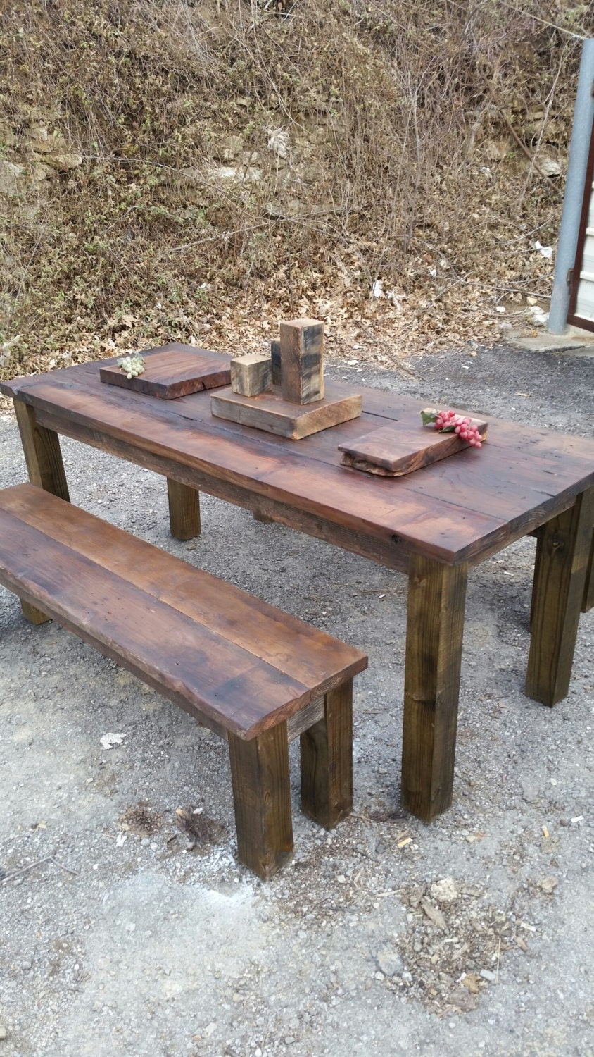 Wood Pub Set ~ Wooden furniture indoor outdoor rustic pub style table set