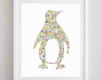 Penguin Floral Watercolor Art Print