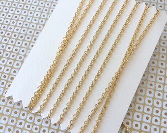 Tiny Cable Chain, 22K Gold Plate Chain, Small Gold Cable Chain, 2.3mm, 4Ft