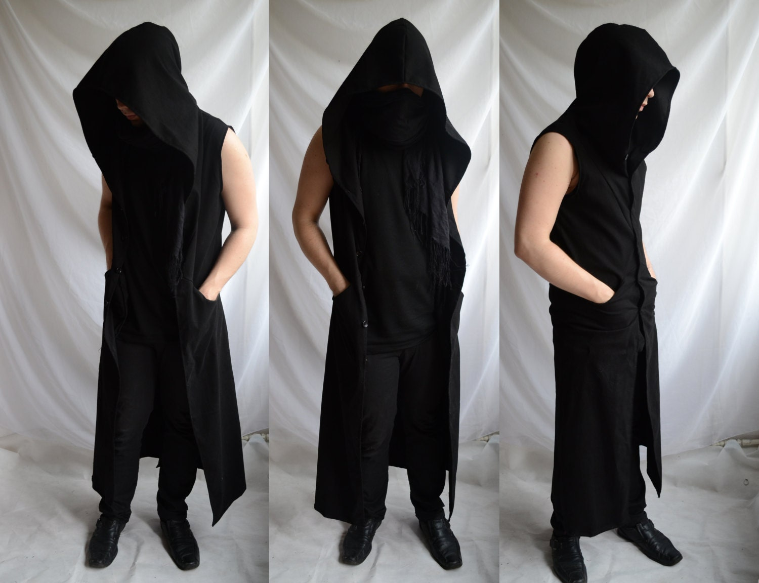 Netherworld Hoodie long sleeveless black mens coat hero