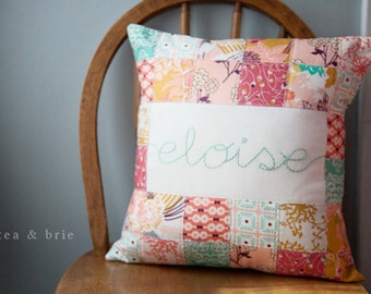 Personalized Hand Embroidered Quilted Pillow Cover - Made to Order