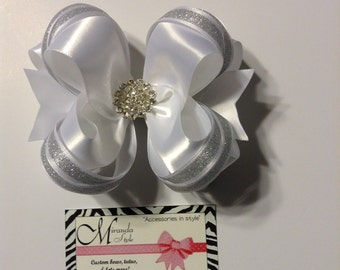 White Satin Hair bow with rhinestone center, white flower girl hair bow ***FREE SHIPPING***