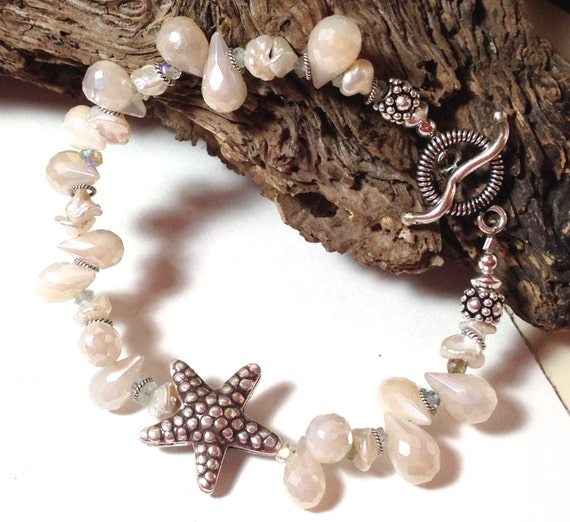 Starfish Bracelet, Starfish Bead, Starfish Jewelry, Aquamarine semi precious gemstone, Starfish charm, Moonstone starfish, moonstone jewelry