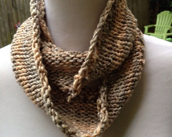 Hand Knit infinity scarf or Cowl in Cotton Yarn with Shine