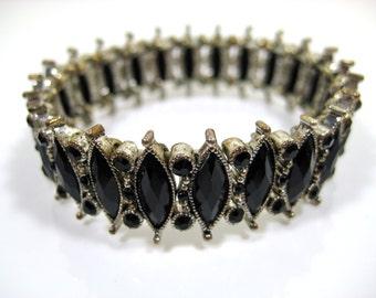 Vintage Black Marquis Cut Rhinestone Expansion Stretch Bracelet