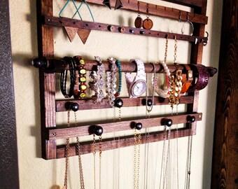 Dark Walnut Wooden Jewelry Display Holder