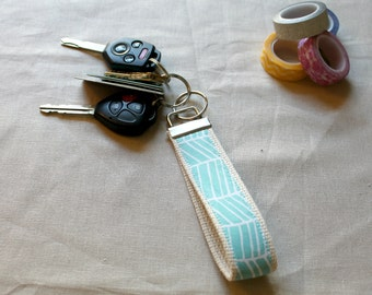 Turquoise Herringbone Key Fob