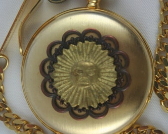 Parmex Pocket Watch • Sunburst Design • Gold Case • Free Shipping! • Working and Ready for Use
