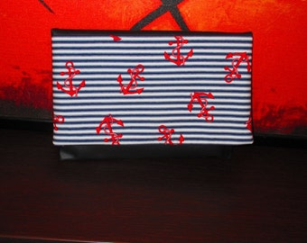 Handmade Bag with anchors and stripe - Pouch - Sailor Style. Fake/Vegan Leather and cotton