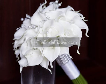 White calla lily wedding bouquet real touch natural calla lilies large bridal elegant with crystals and pearls and silver accents