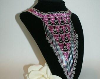 Elegant Low hanging Seed Bead Pink Choker Native American Style