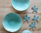 Ceramic plate set Two turquoise plates Wonky handbuild plates Serving Dishes - Ready to ship