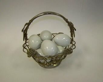 White Ceramic Eggs Vintage Eggs Easter Decor White Eggs Eight White Eggs