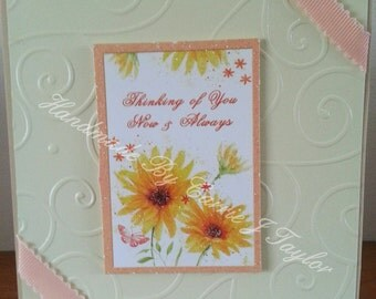 5x5 Thinking Of You / Sympathy/ Mothers Day Card With Hunkydory Topper