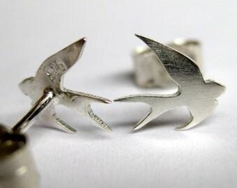 Silver swallow earrings