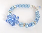 Blue Pearl and Crystal Jewellery, Pale Blue Bridesmaid Bracelet, Bridal Party Gifts, Blue Wedding, Crystal Cluster Jewellery