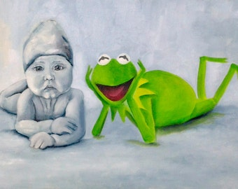 LOL green gray oil painting child, kermit