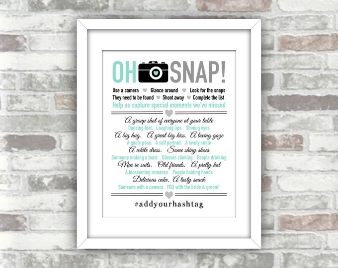 PRINTABLE Personalised Print Your Own 'Oh Snap' I spy wedding photo decoration digital print file - hashtag turquoise mint grey typography