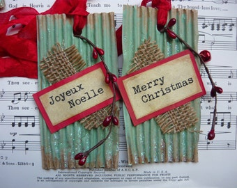 3 Xmas Gift Tag, Christmas Gift Tags, French Christmas Tag, Joyeux Noel, Upcycle Tag, Mixed Media Tag, Vintage Style Tag