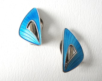 Vintage Ivar Holth Blue Guilloche Enamel On Sterling Silver Clip On Earrings Made In Norway