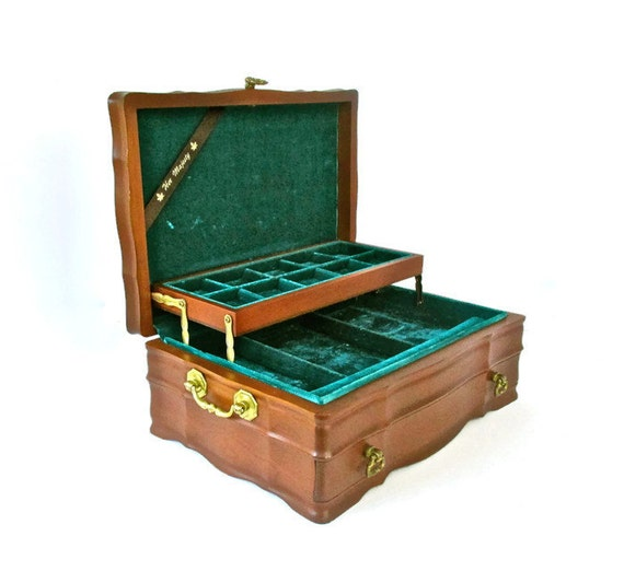 Vintage large jewelry box jasco solid wood with brass hardware for Solid wood jewelry chest