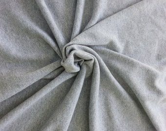 "Heather Gray Sweater Knit Fabric 666""W Poly Acrylic Interlock by Yard"