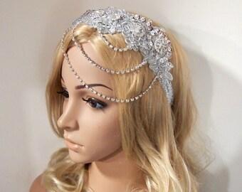 Silver lace Wedding headband, Rhinestone headband, Gatsby headband, Flapper headband, Gatsby Headpiece, Great Gatsby 1920 headpiece