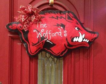 Spring FEVER buy 1 get one 1/2 off! Arkansas Razorback Door Hanger