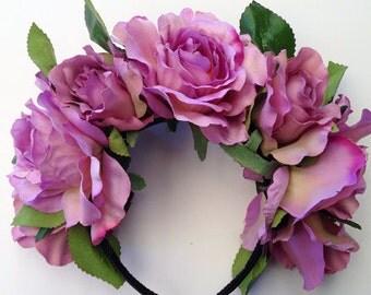 Amethyst - Floral Rose Headband