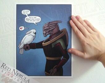 8.5x11 Turian and Cockatoo, Mass Effect Humor, Comic Art Print