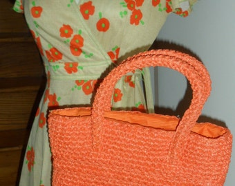 bright orange 50s 60s raffia handbag another  made in italy creation fomerz quality