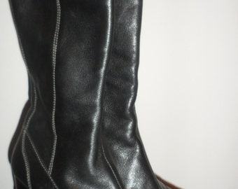 circa  joan and david black leather  knee high boots size 7 1/2   vintage