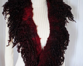 Collar felted with Wensleydale locks on merino wool, dyed with Cochineal,bordaux, very dark-red, red