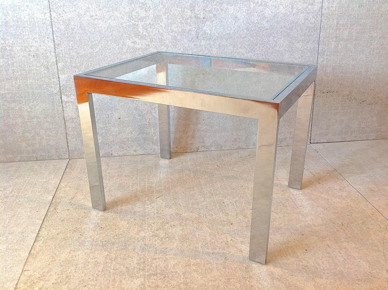 Vintage chrome glass end table panton era s side