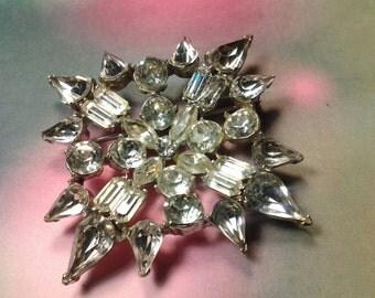 vintage flower brooch pin costume jewelry rhinestone large