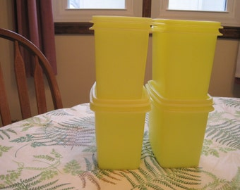 Set Of Four Lemon Yellow Tupperware Space Savers 1970