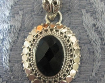GET 15% OFF Faceted Black Onyx Sterling Silver Pendant.