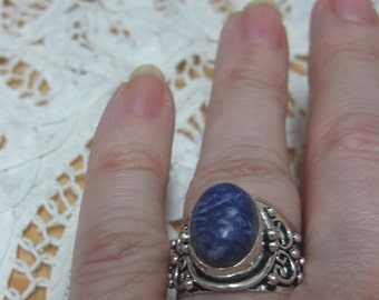 Charoite Cabachon set in Sterling Silver Ring Size 8
