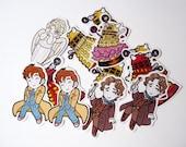 Doctor Who - Dalek & Weeping Angel - stickers chibi, kawaii, fan art