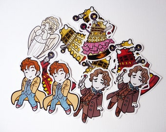 Doctor Who - Dalek & Weeping Angel - stickers chibi, kawaii, fan art
