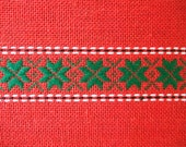 Vintage Christmas fabric woven red and green
