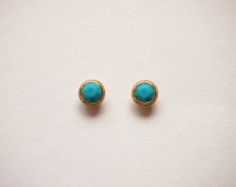 Turquoise Round Stud earrings - titanium earrings-  with swarovski turquoise-dainty