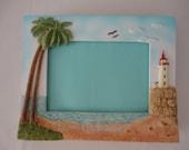 Palm Trees / Lighthouse Frame - 5x7 - Beach Decor / Seaside / Ocean Decor / Wedding Gift