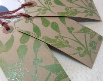 Hand printed mistletoe gift tags