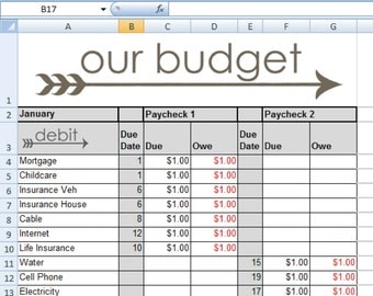 Budget Spreadsheet - 12 Months - In stant Download ...